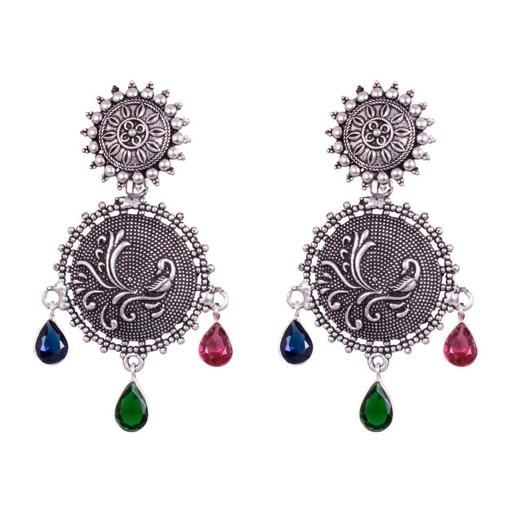 Multicolour Stone Oxidized Earrings