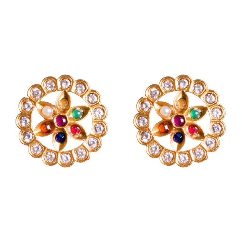 Vivid Stylish Navaratna Earrings