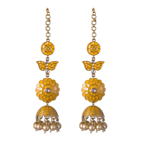 Yellow autumn jhumkas