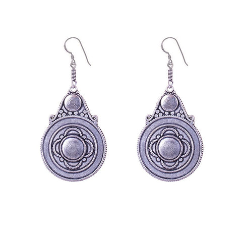 Dark silver oxidized pattern earrings