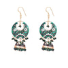 Sparkling Green Painted Jhumka Earrings