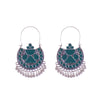 Handpainted Blue Chandbali Earrings