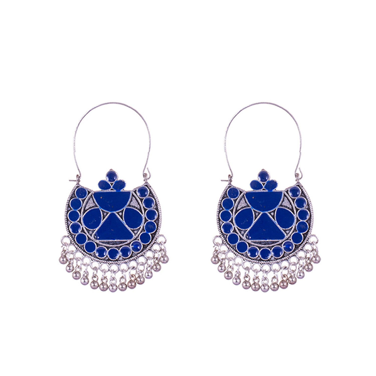 Blue Colour Painted Silver Earrings