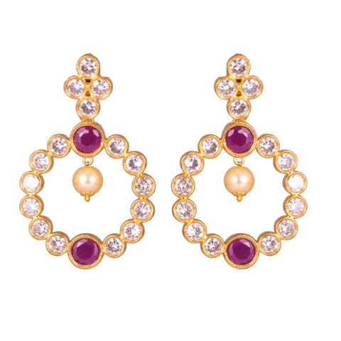 Pearls ruby embellished earrings
