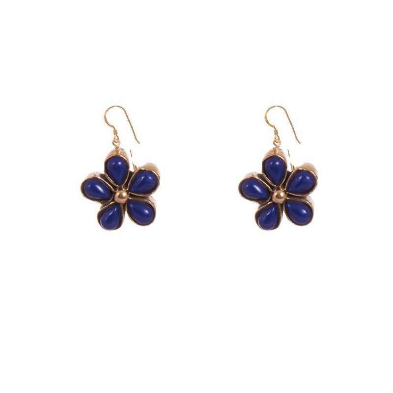 Navy Blue Floral Earrings