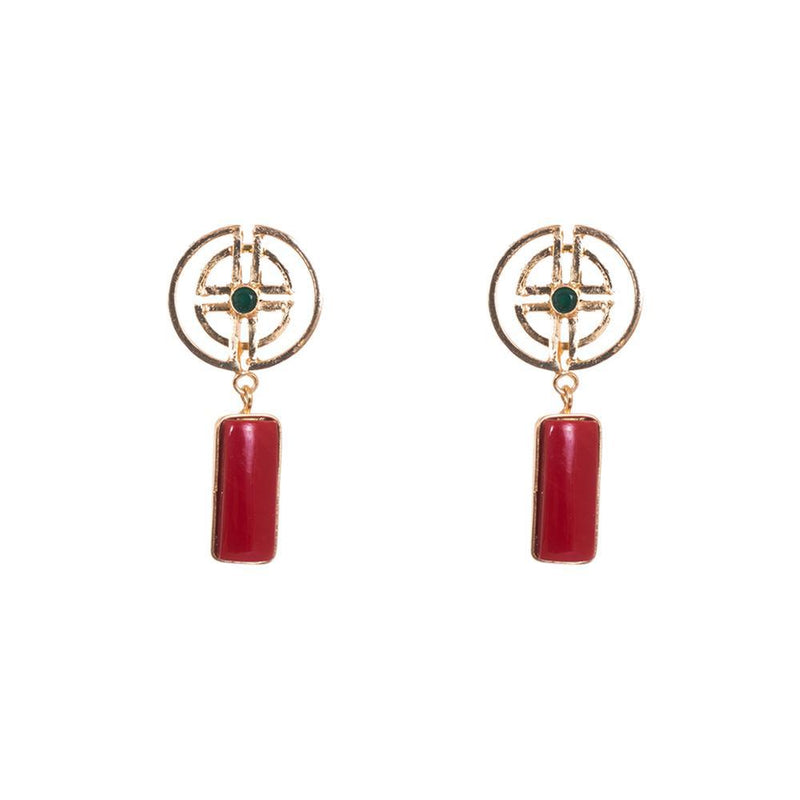 Red Stone Statement Earrings