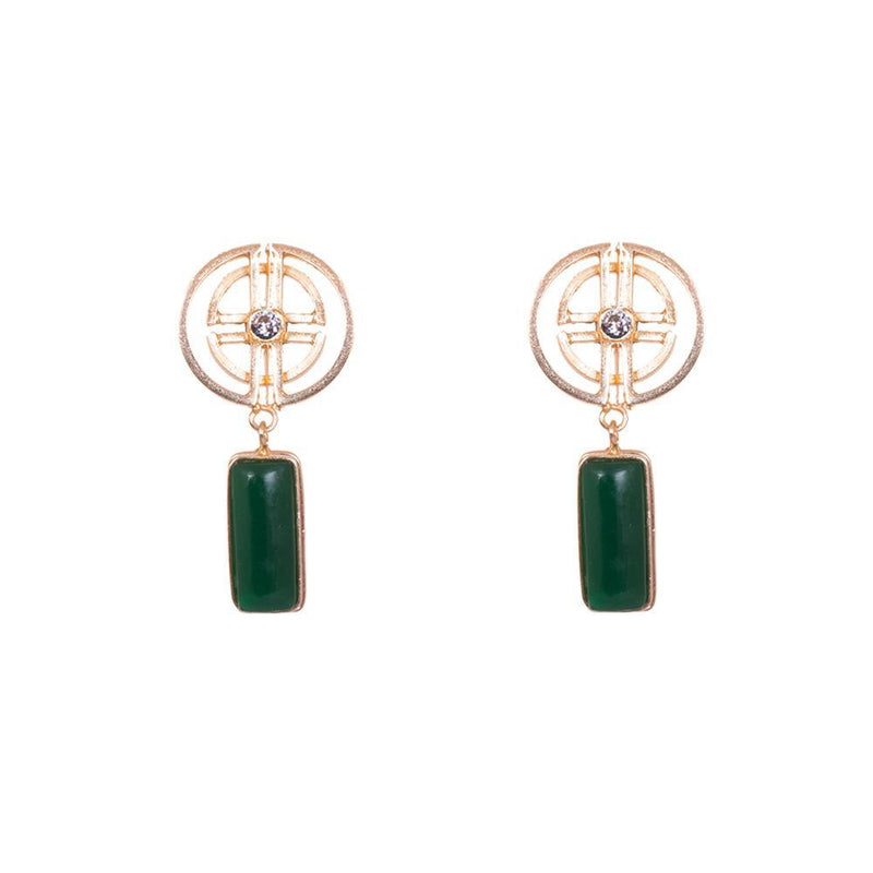 HandCrafted Green Stone Statement Earrings
