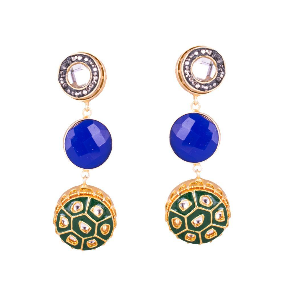 Layered Intricate Blue Statement Earrings