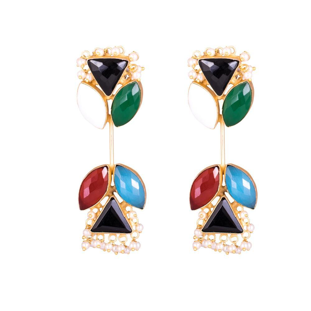 Multicolour Stone Unique Statement Earrings