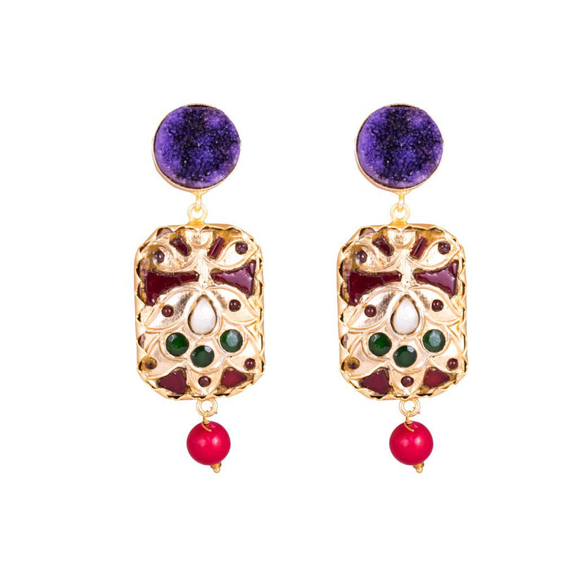 Purple Rock Stone Statement Earrings