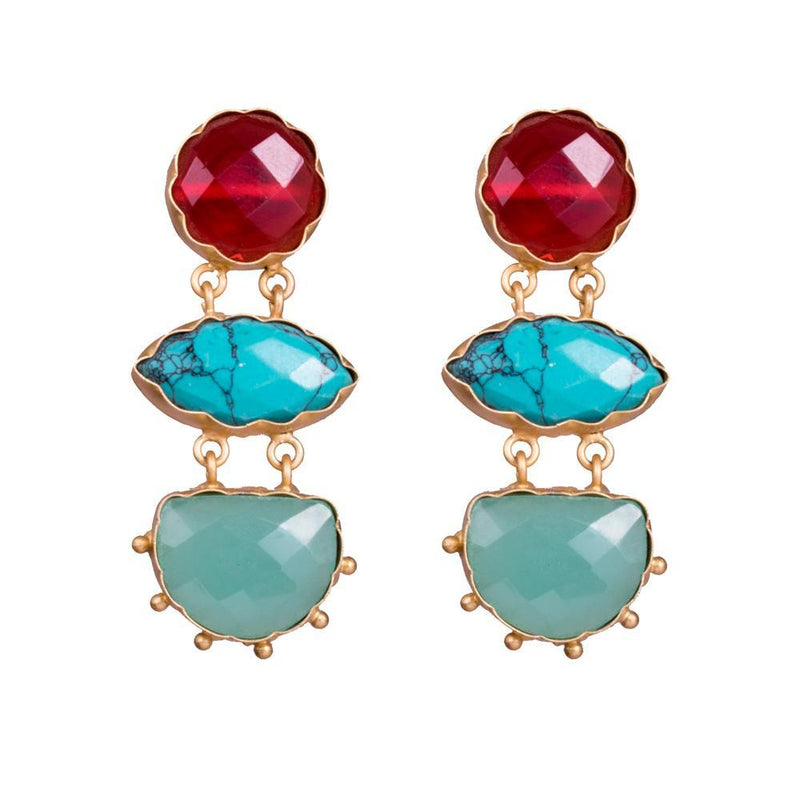 Turquoise Blue Stylish Statement Earrings