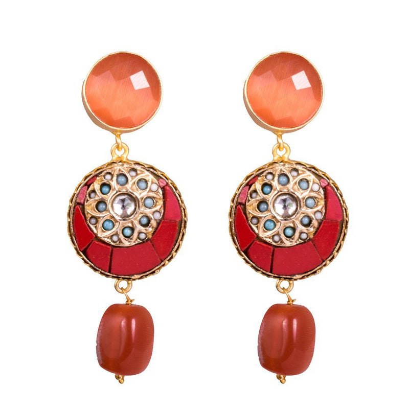 Orange Stone Classy Statement Earrings