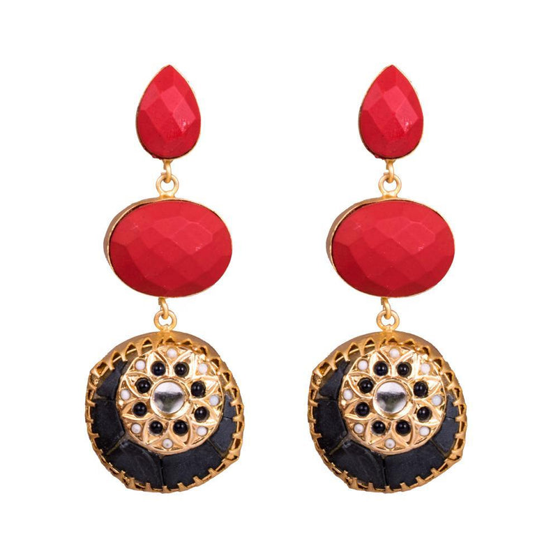 Multicolour Stone Antique Statement Earrings