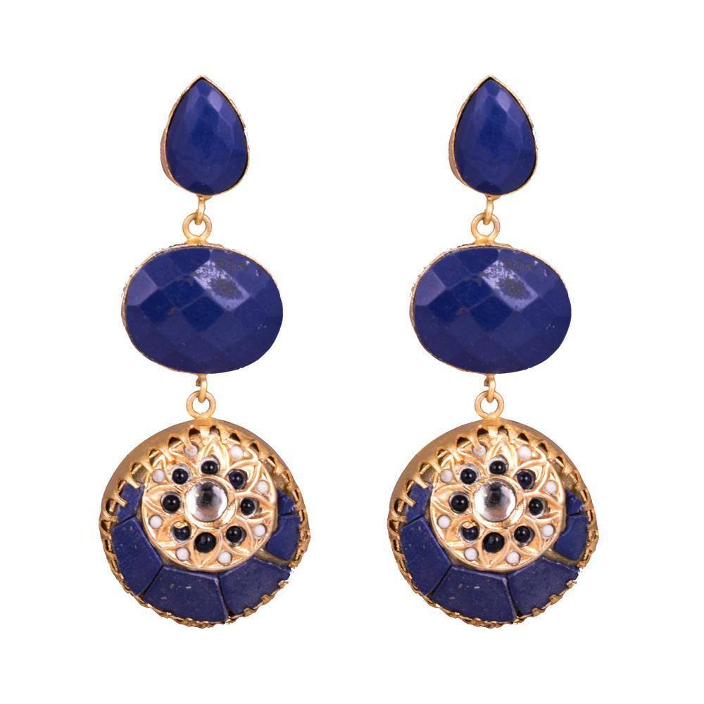 Blue Stone Gold Plated Statement Elegant Earrings