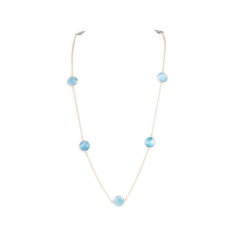 Aqua Colour Semi Precious Stone Chain