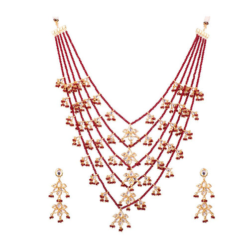 Dazzle with red necklace set