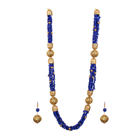 Blue jazz beaded necklace set