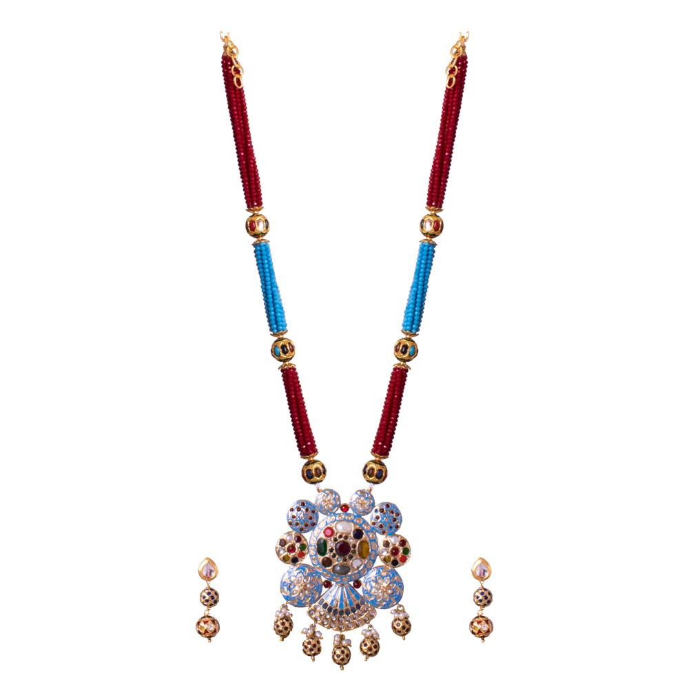 Red And Blue Beaded With Navaratna Pendant Set