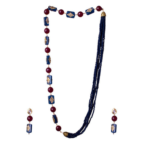 blue kemp red beaded set