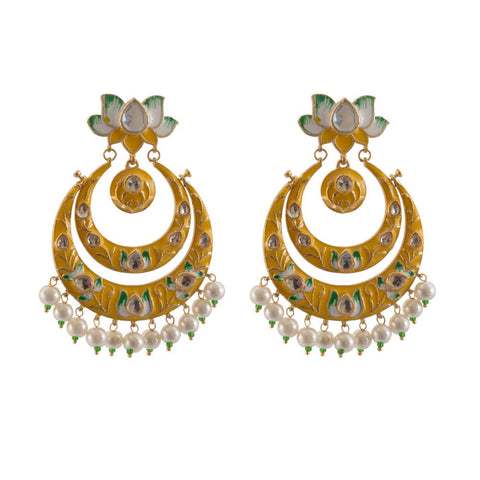 Chandbali finish gold plated earrings