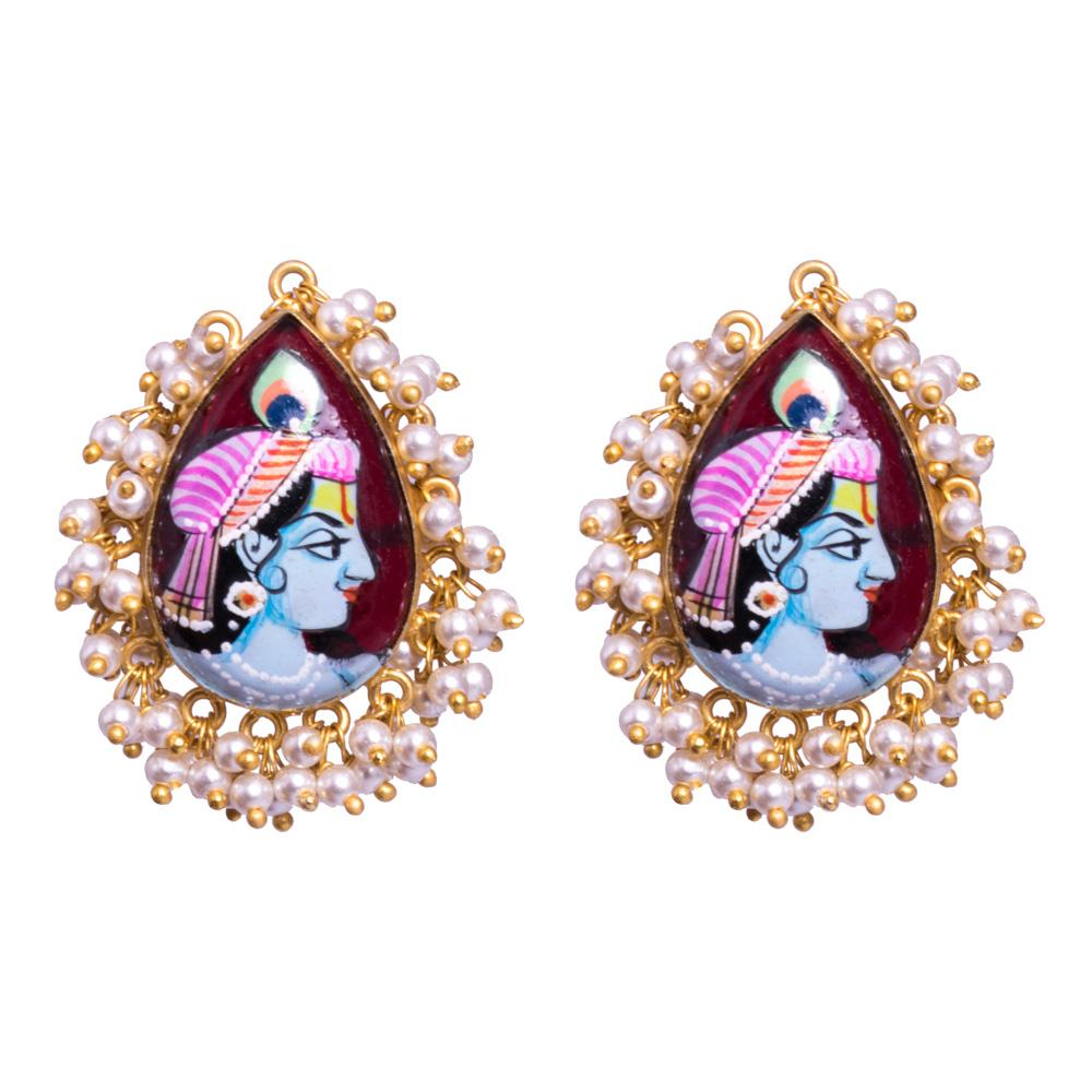 Meenkari krishna earrings