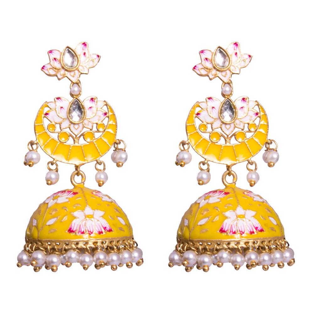 Chandbali yellow  meenakari jhumkas