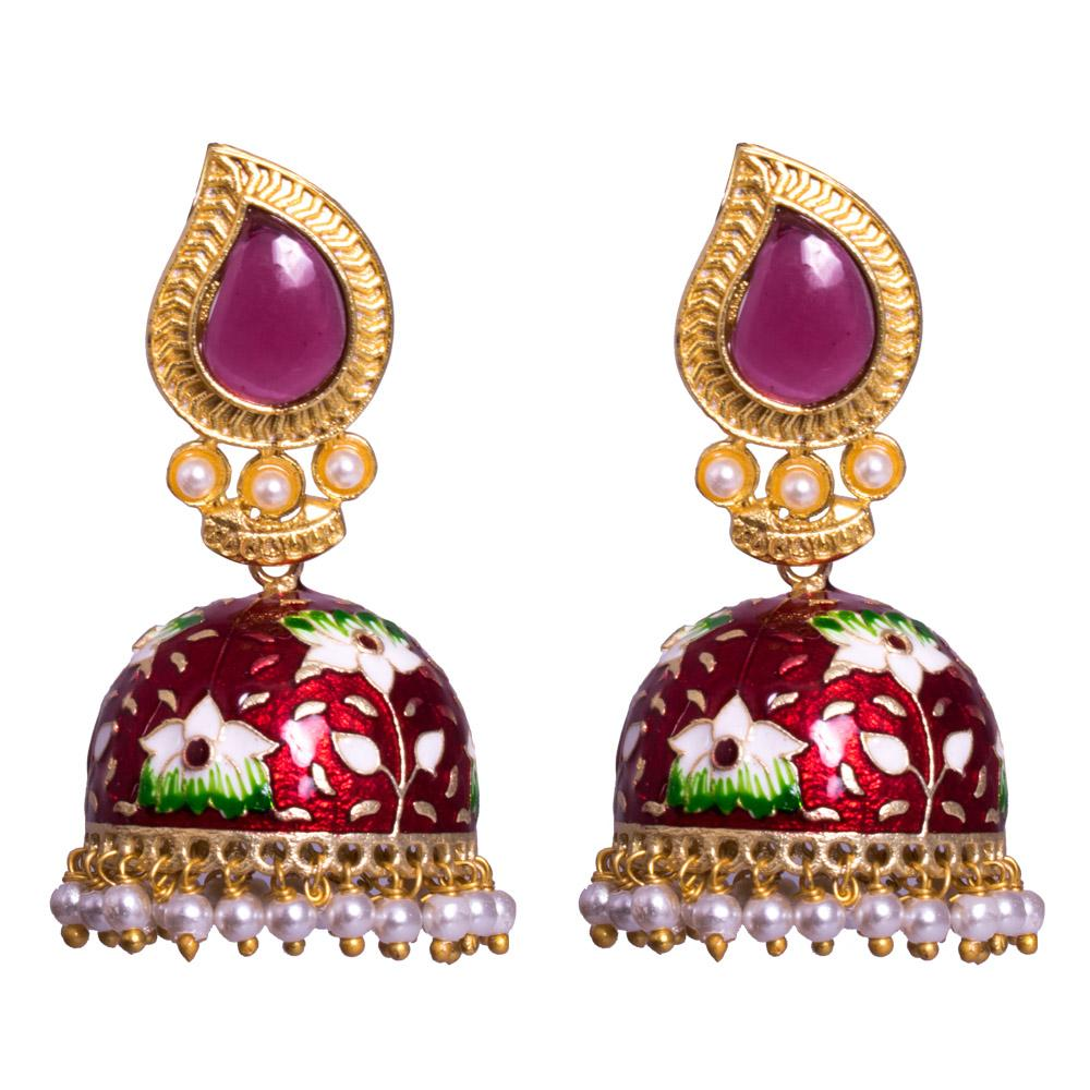 wine red meenakari jhumkas