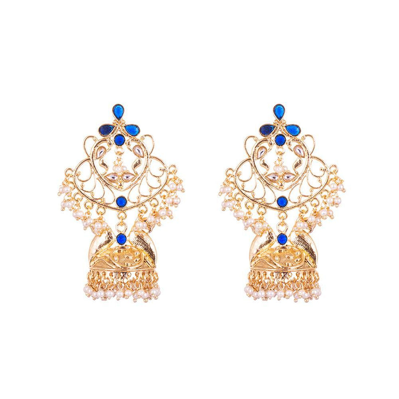 Blue Shine And Grace Gold Plated Jhumkas