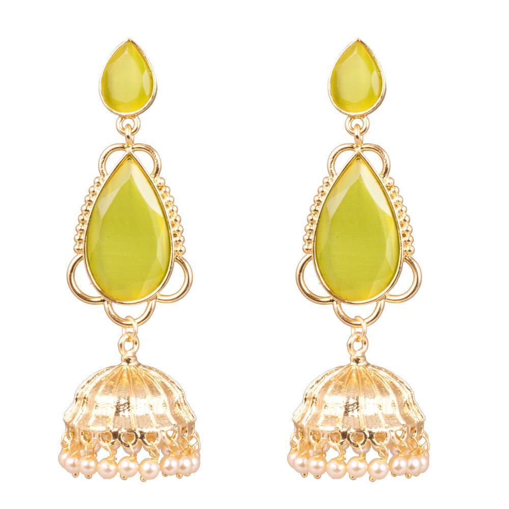 Apple Green Semi Precious Stone Jhumkas