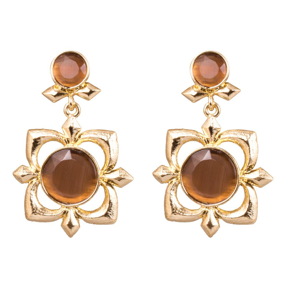 Brown Stone Floral Gold Plated Earrings