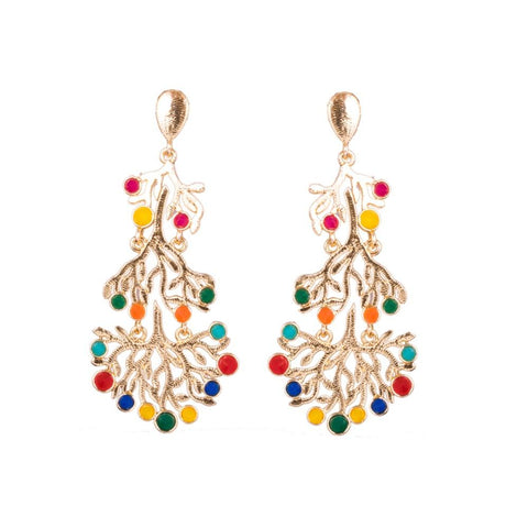 Multicoloured stone detail earrings
