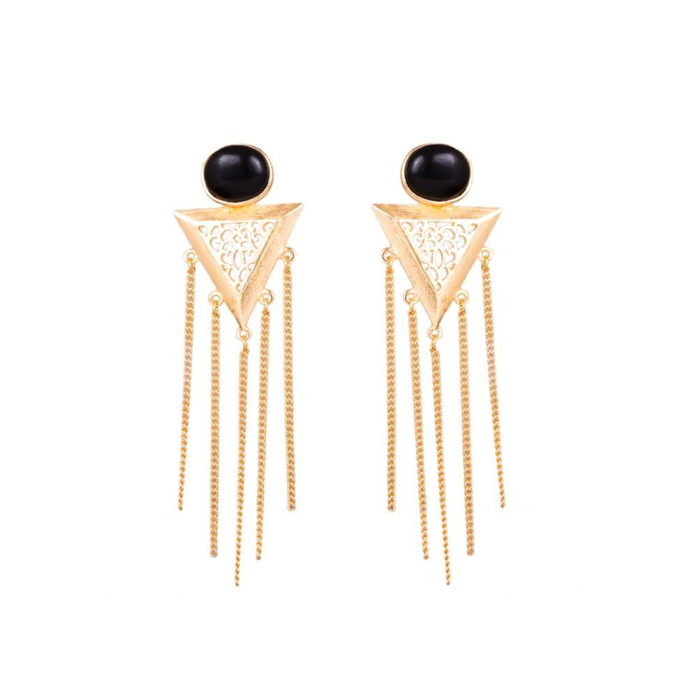 Black Gold Plated Triangular Earrings