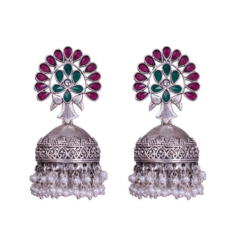 Red green traditional jhumkas