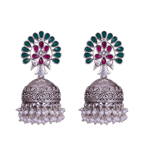 Textured red green jhumkas