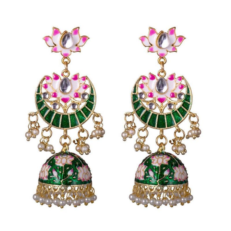Lotus Shaped Green Painted Jhumkas