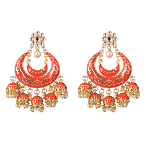 Stylish bright orange jhumkas