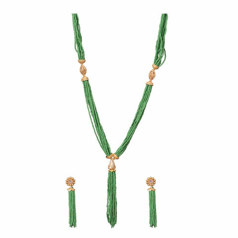 Green layered necklace set