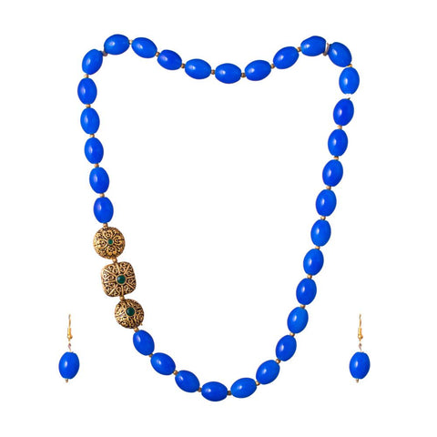blue kemp stone necklace set