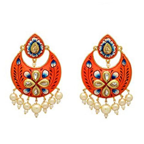 Bright orange chandbali style earrings