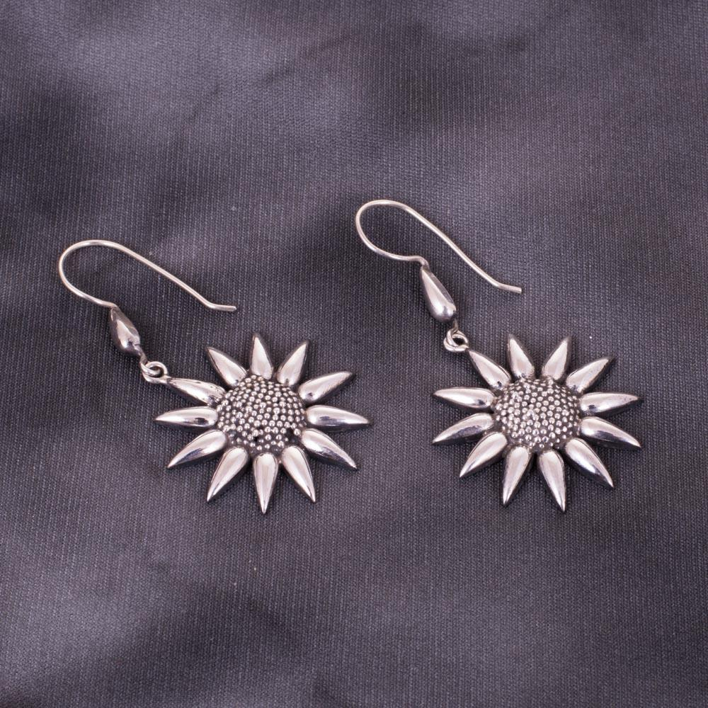 Sunflower Theme Beauty Silver Earrings
