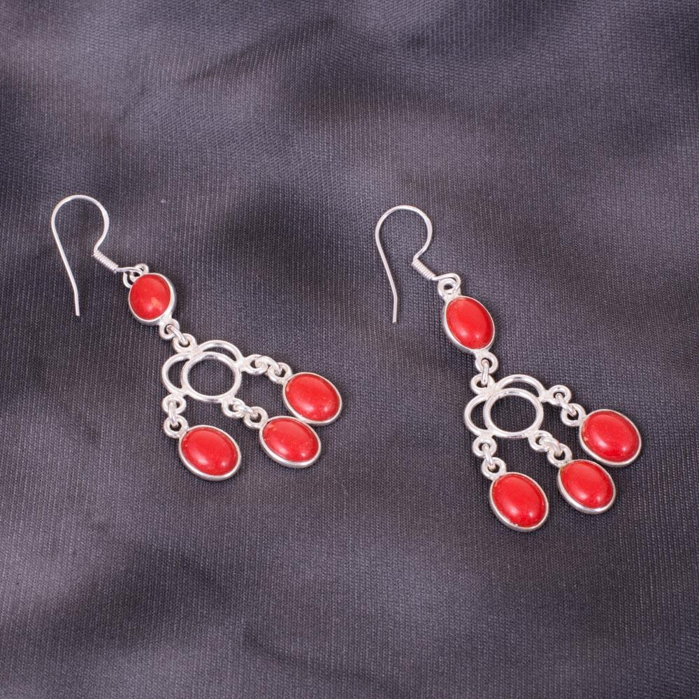 Red Stones Dangling 92.5 Silver Earrings