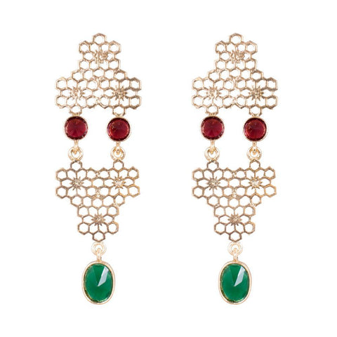 Gold Plated Red And Green Stone Earrings
