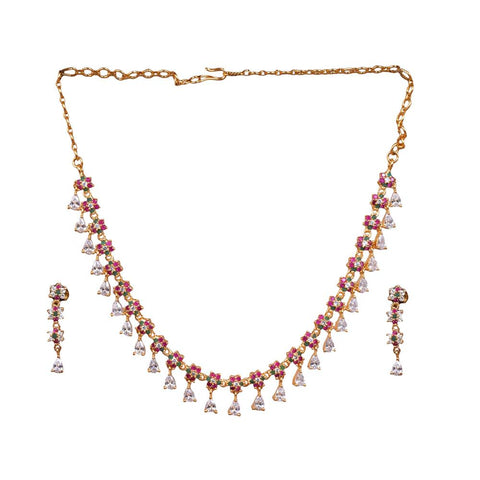 Multicoloured gold necklace set