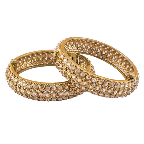 Embellished gold plated bangles