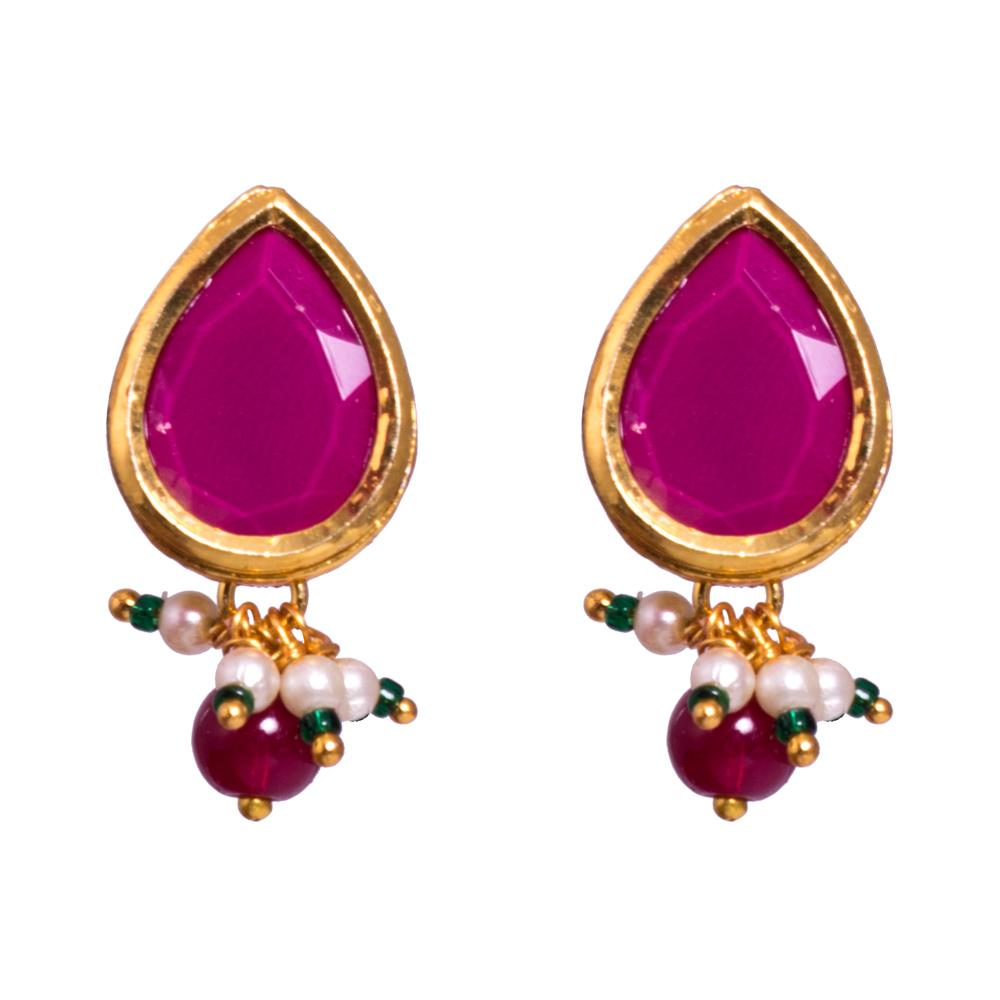 Pink semi precious earrings