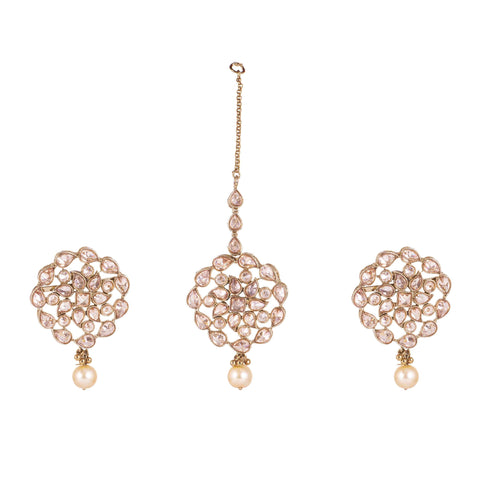 Matte rose beaded designer earrings and Mang Tika