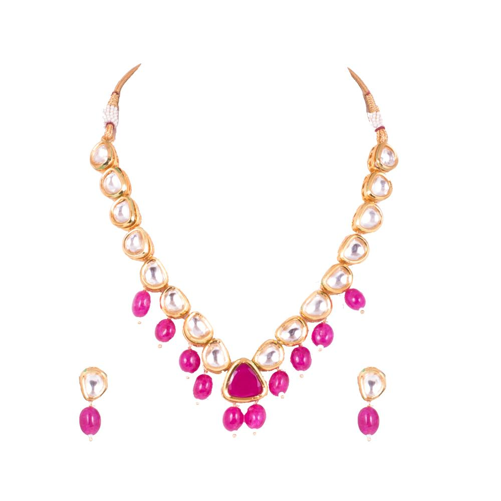 Kundan And Semi Precious Necklace set