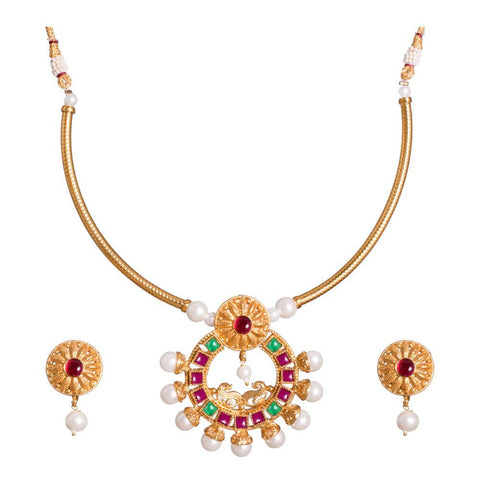 Ruby and Emerald detailed necklace Set