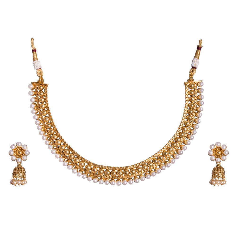 Gold plated Pearl detailed Necklace Set