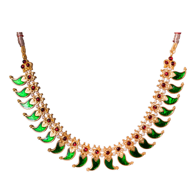 Green Enamel And Red Kemp Short Necklace